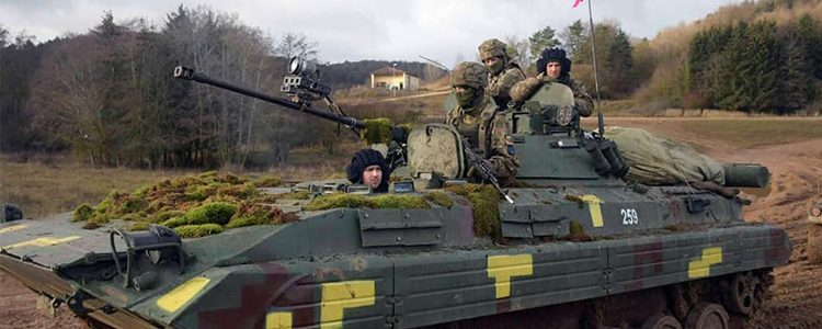 Ukrainian troops with NATO allies liberate occupied territories during military exercise