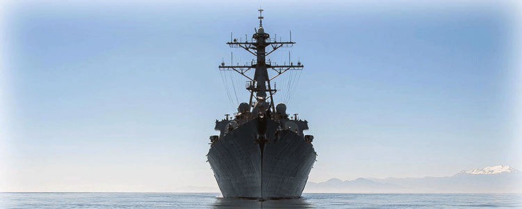 A mighty US guided-missile destroyer enters the Black Sea